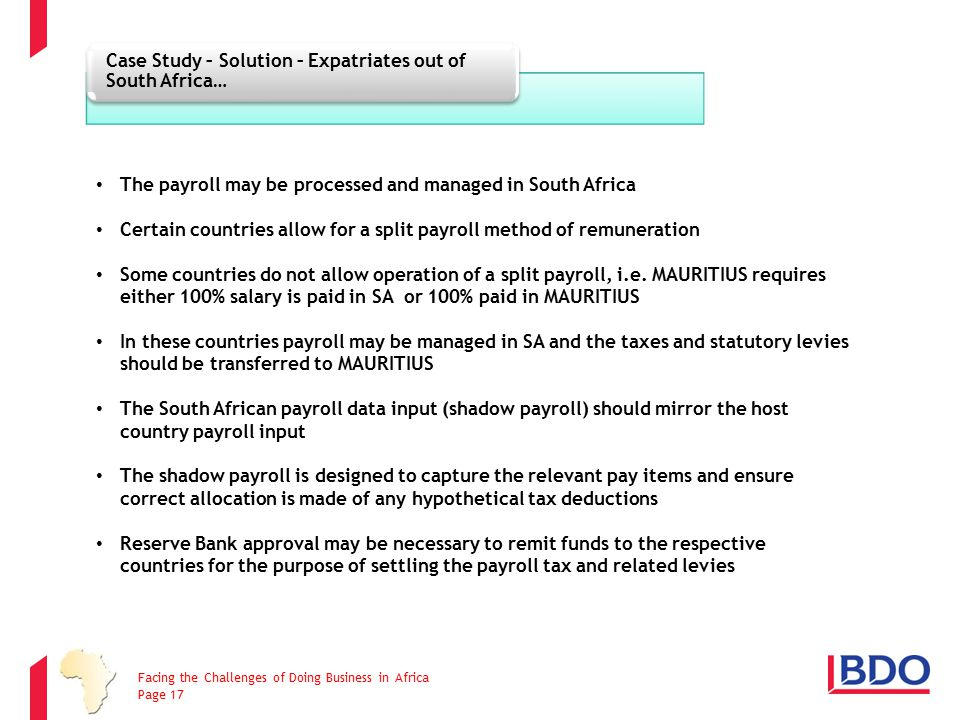Case Study – Solution – Expatriates out of South Africa…