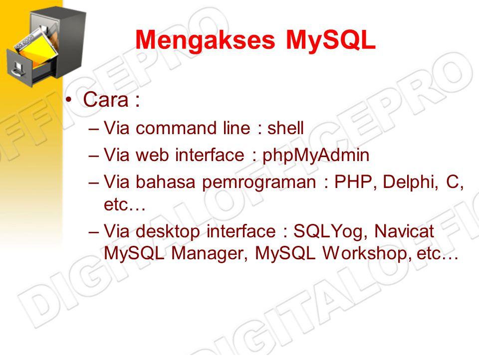 Mengakses MySQL Cara : Via command line : shell