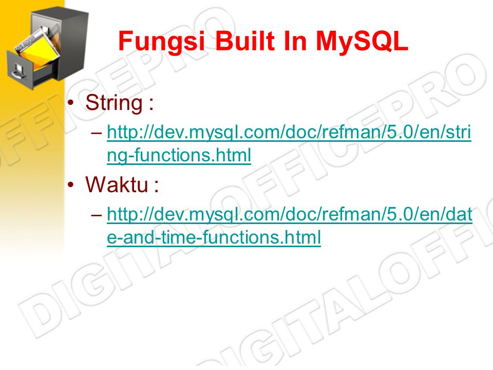 Fungsi Built In MySQL String : Waktu :