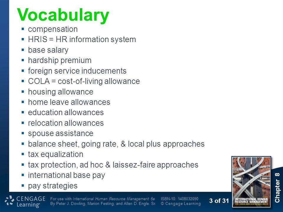 Vocabulary compensation HRIS = HR information system base salary