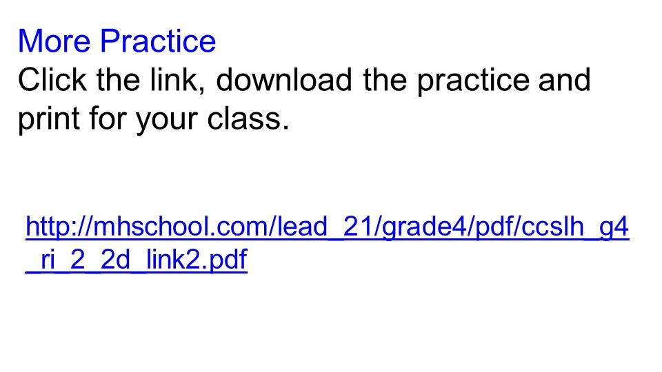 Click the link, download the practice and print for your class.