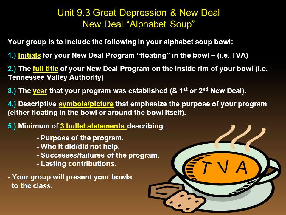 V A T Unit 9.3 Great Depression & New Deal New Deal Alphabet Soup