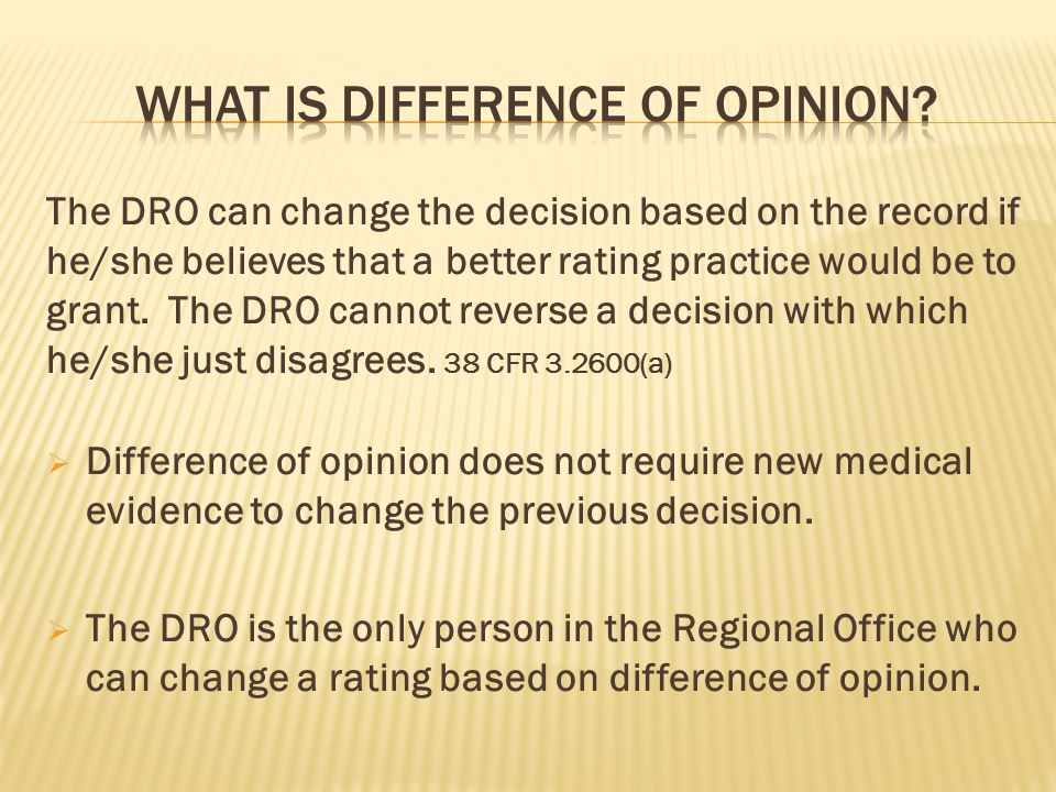 What is Difference of opinion