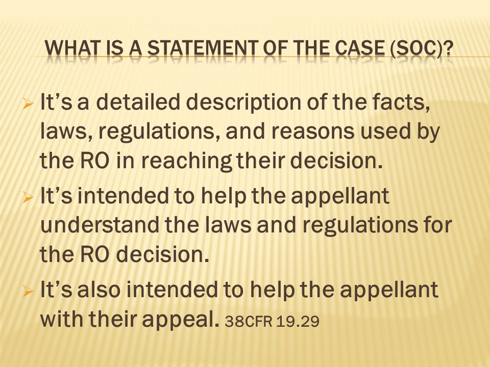 What is a Statement of the Case (soc)