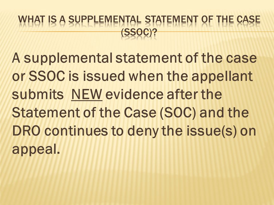 What is a Supplemental statement of the case (ssoc)