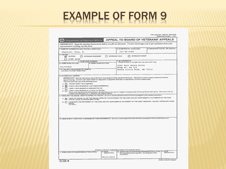 Example of form 9