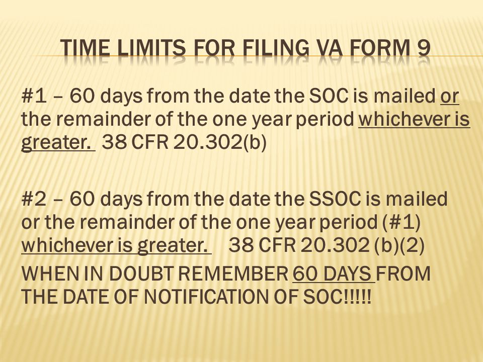 Time limits for filing va form 9