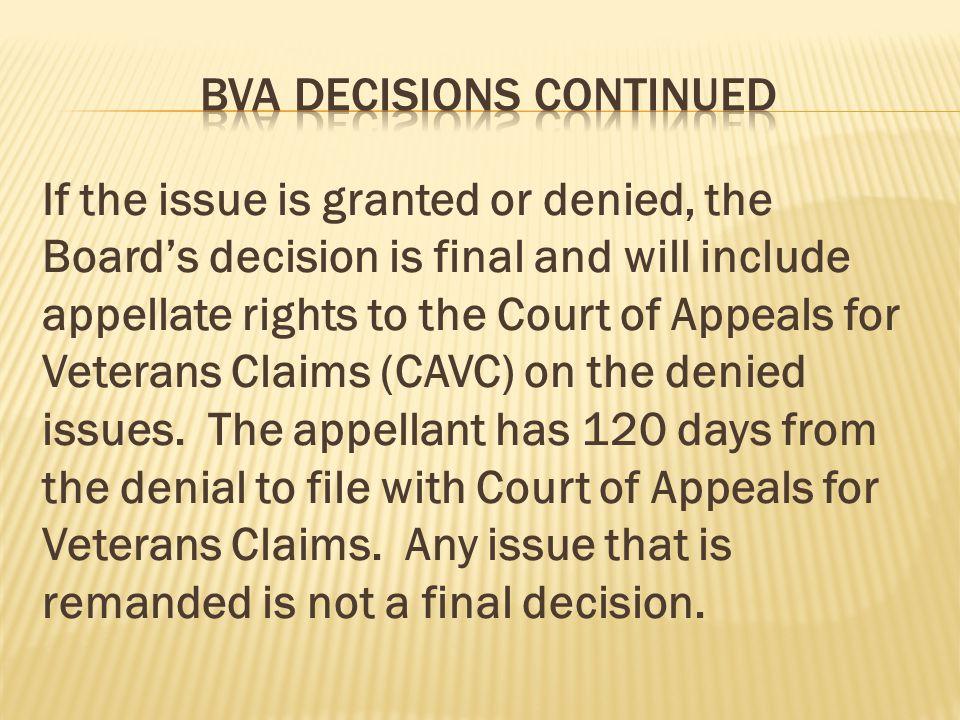 BVA Decisions continued