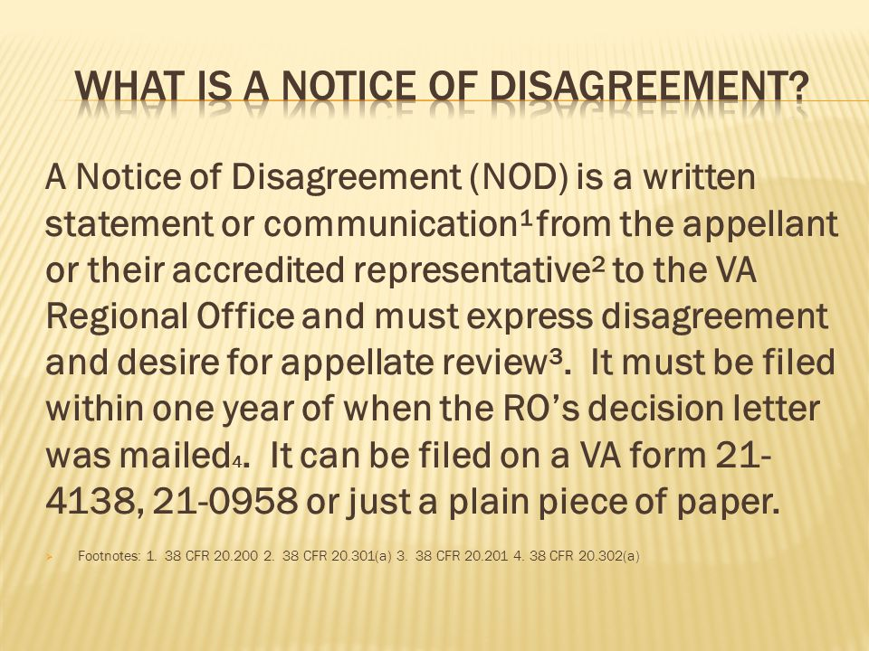 What is a Notice of Disagreement