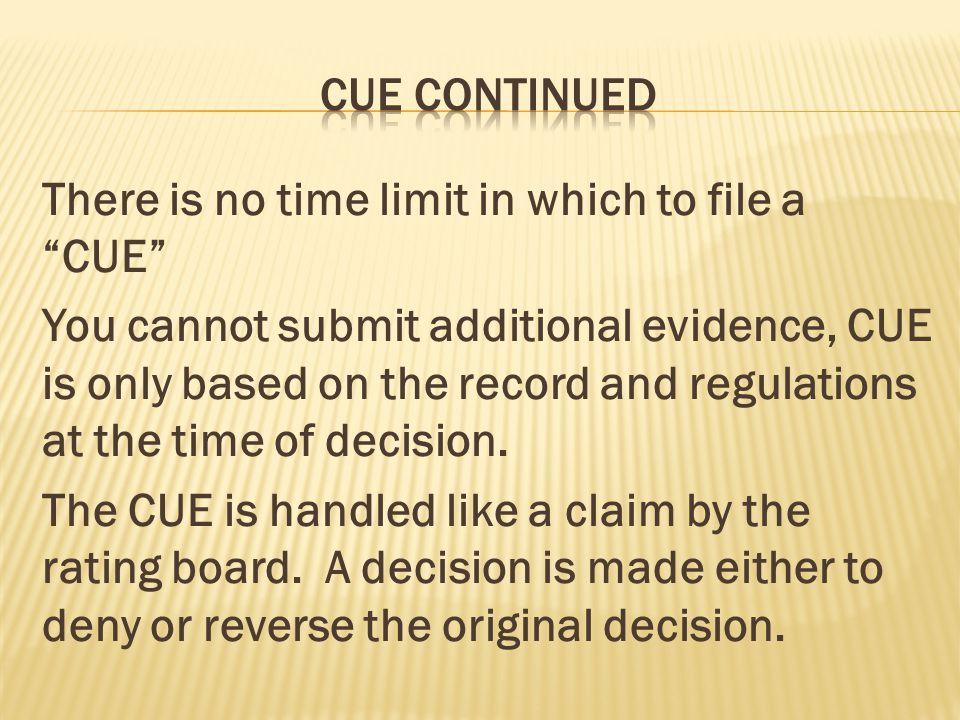 CUE continued