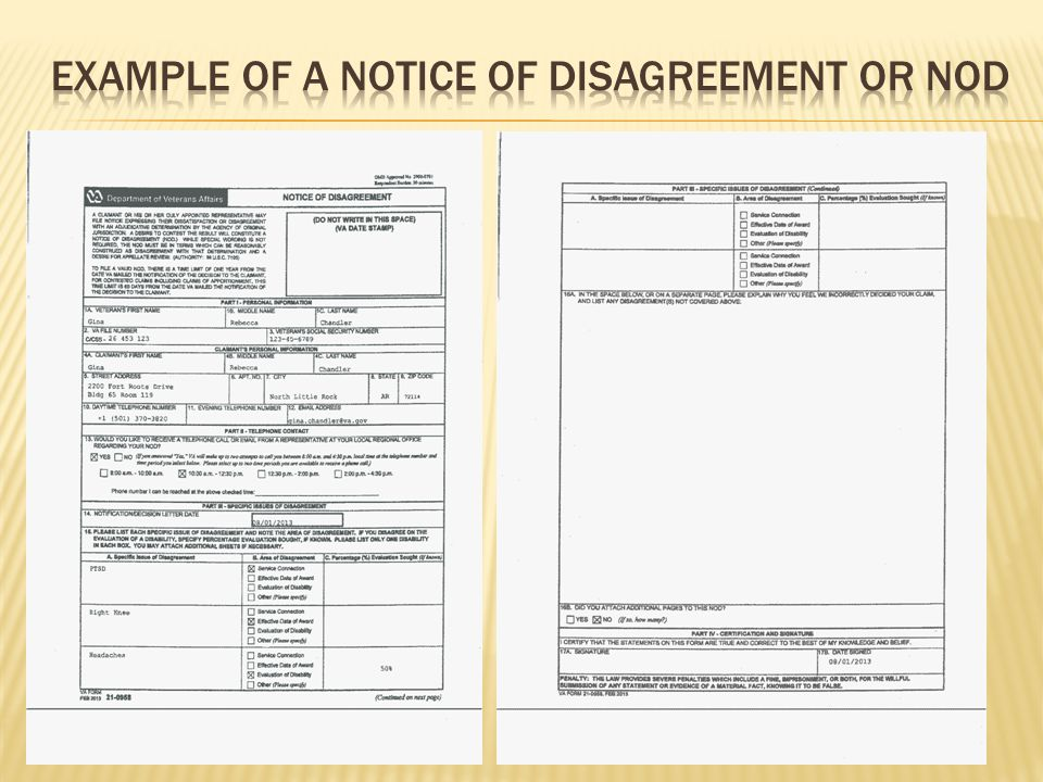 Example of a Notice of disagreement or nod
