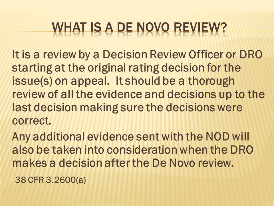 What is a De novo review