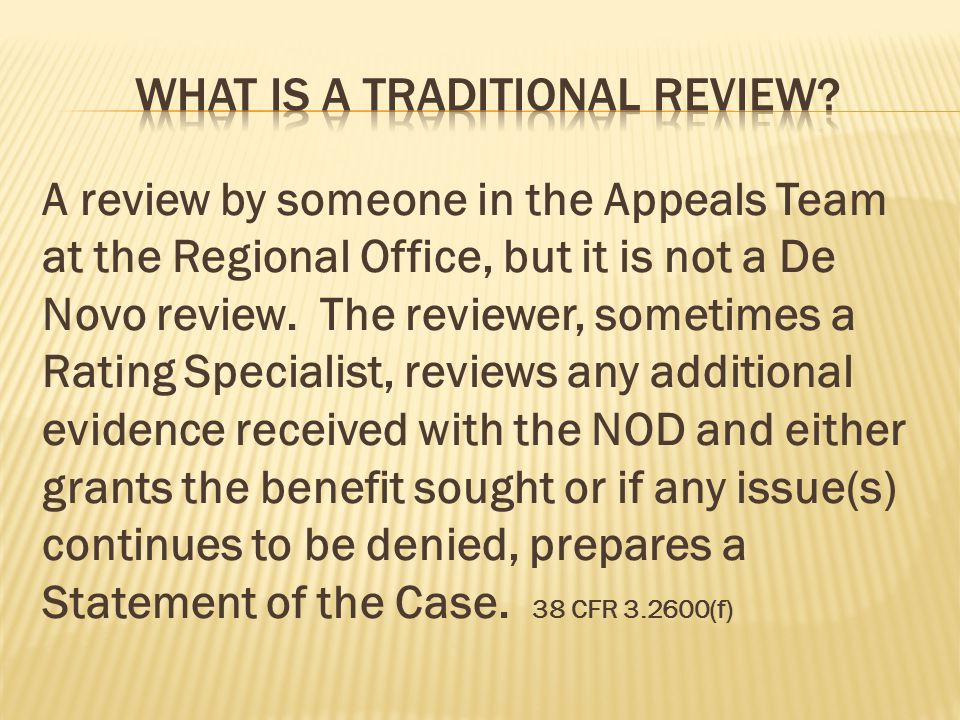 What is a traditional review