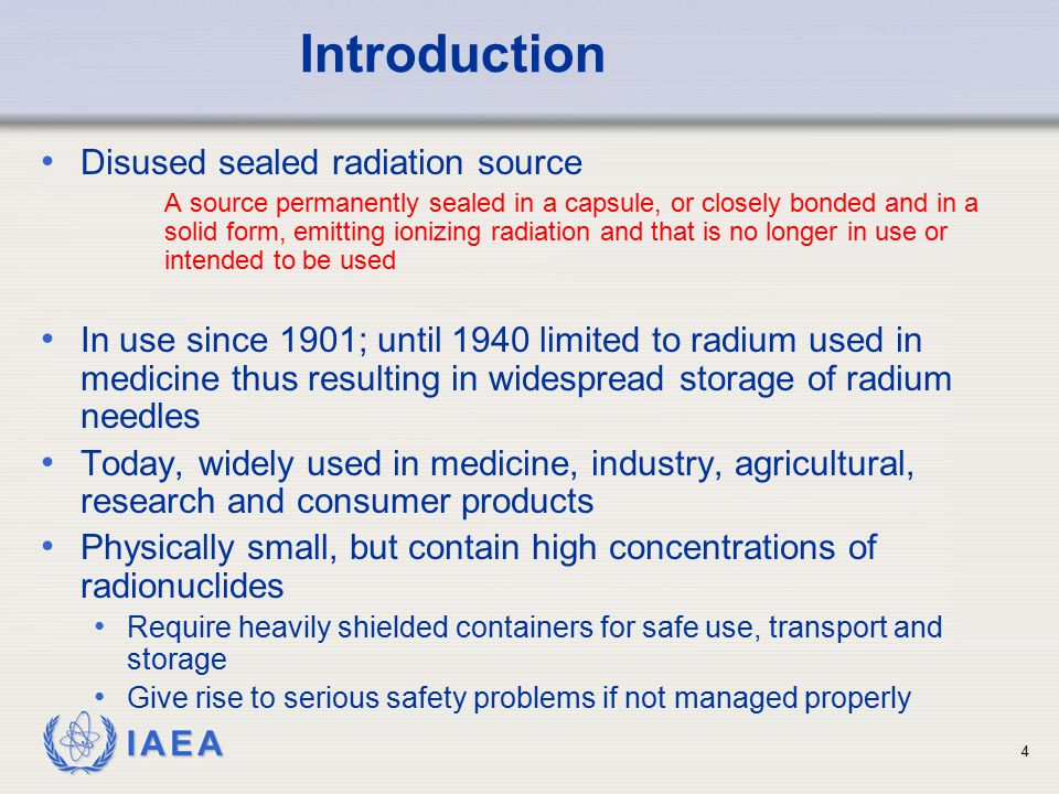 Introduction Disused sealed radiation source
