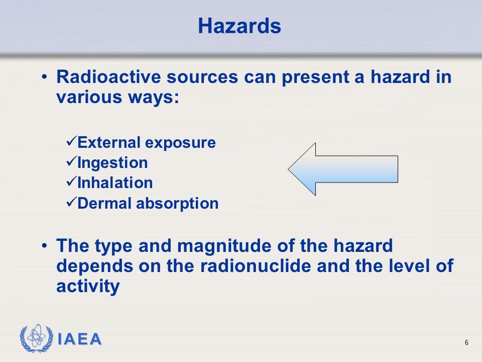 Hazards Radioactive sources can present a hazard in various ways: