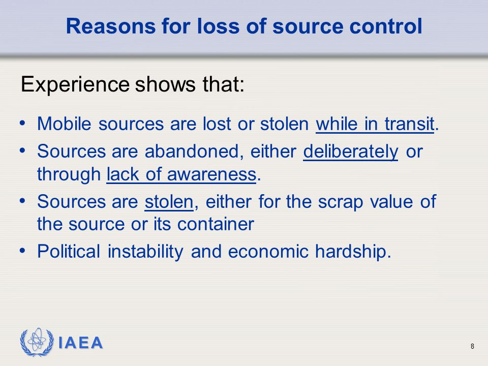 Reasons for loss of source control