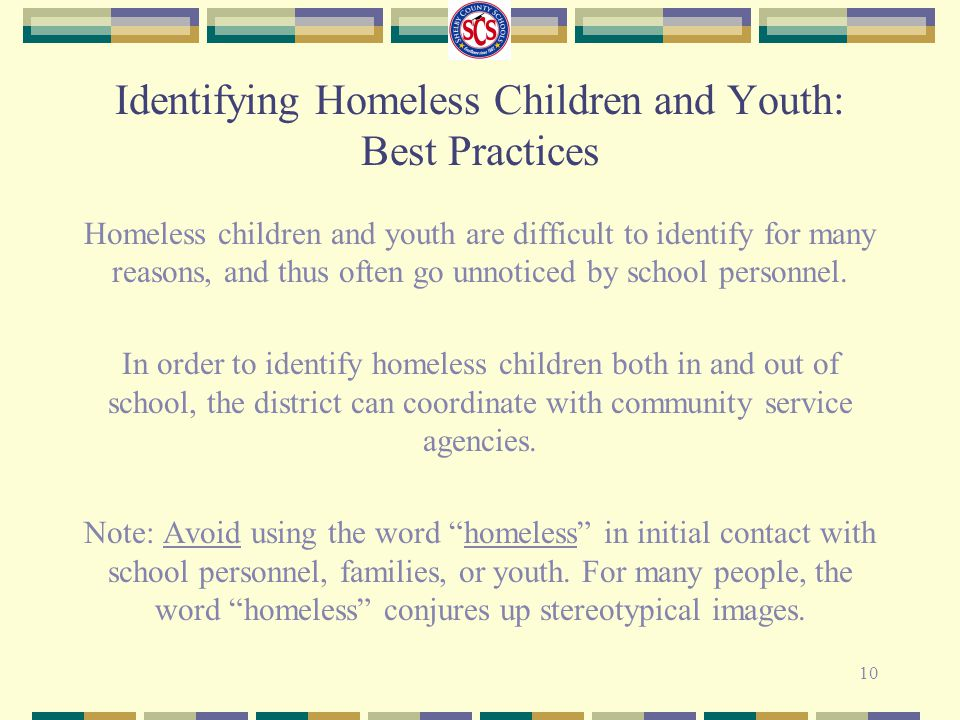 Identifying Homeless Children and Youth: Best Practices