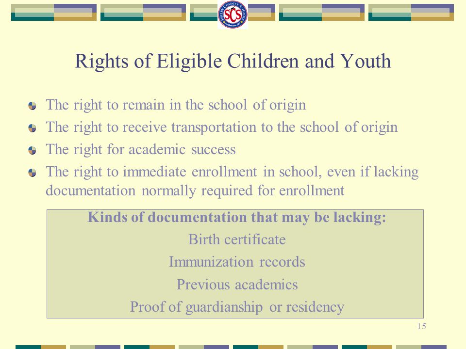 Rights of Eligible Children and Youth