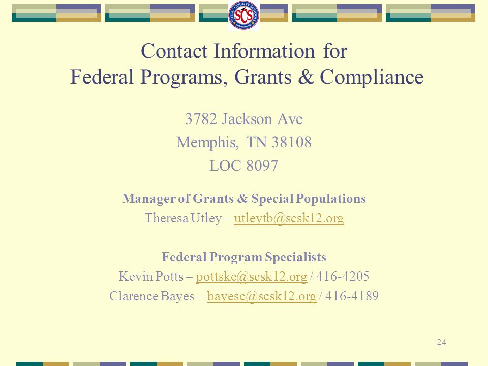 Manager of Grants & Special Populations Federal Program Specialists