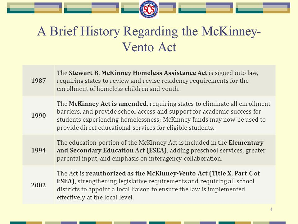 A Brief History Regarding the McKinney-Vento Act