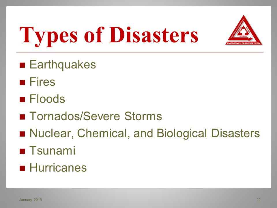 Types of Disasters Earthquakes Fires Floods Tornados/Severe Storms
