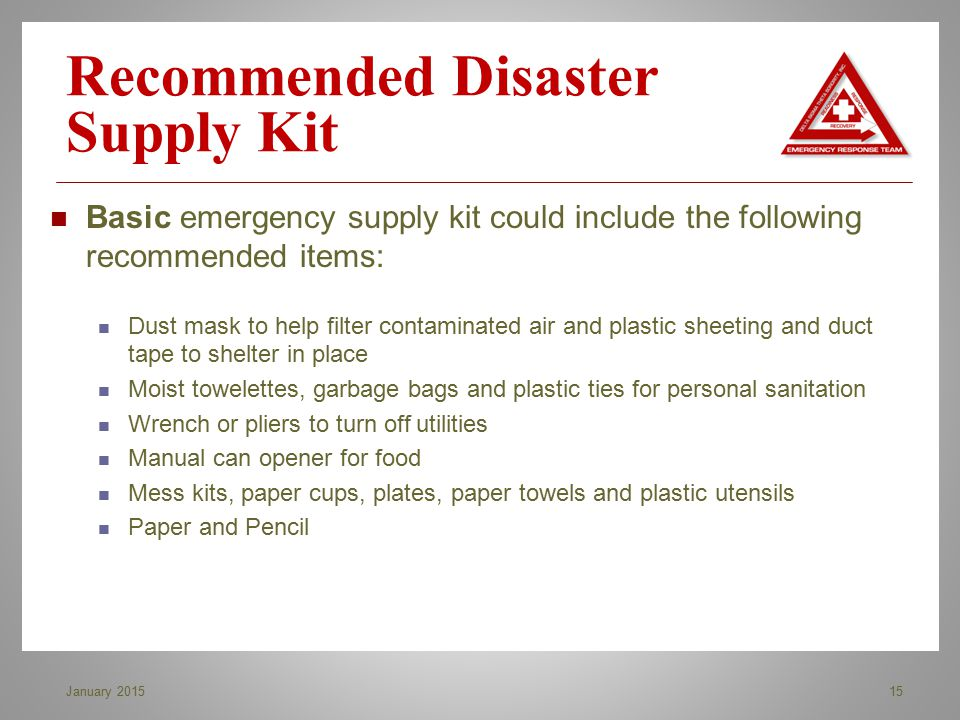 Recommended Disaster Supply Kit