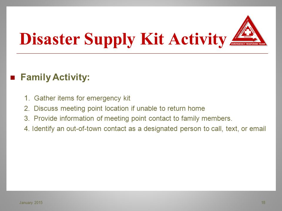 Disaster Supply Kit Activity