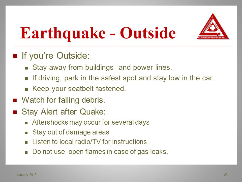 Earthquake - Outside If you're Outside: Stay Alert after Quake: