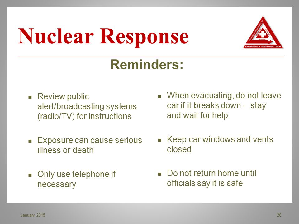 Nuclear Response Reminders: