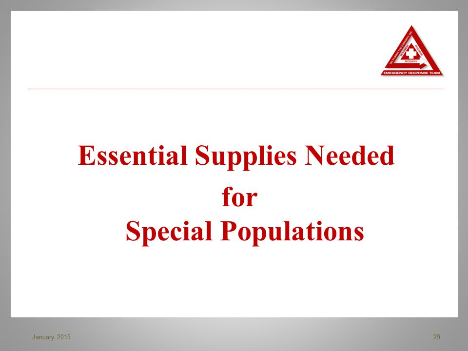 Essential Supplies Needed for Special Populations