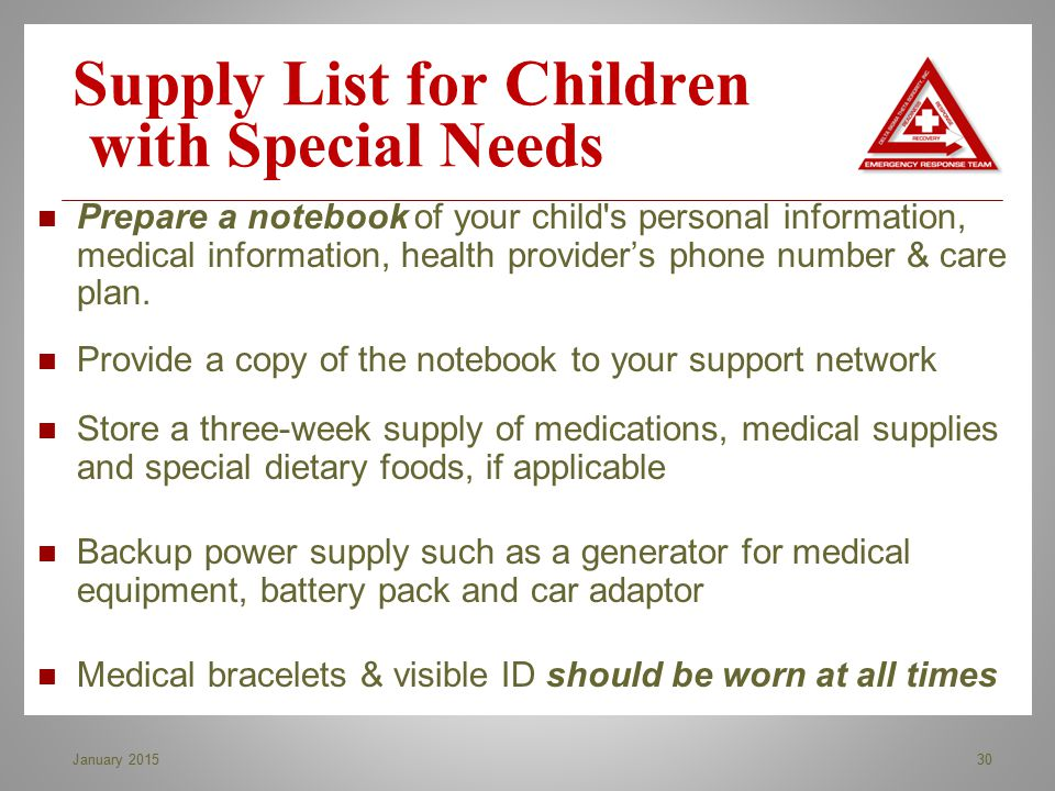 Supply List for Children with Special Needs