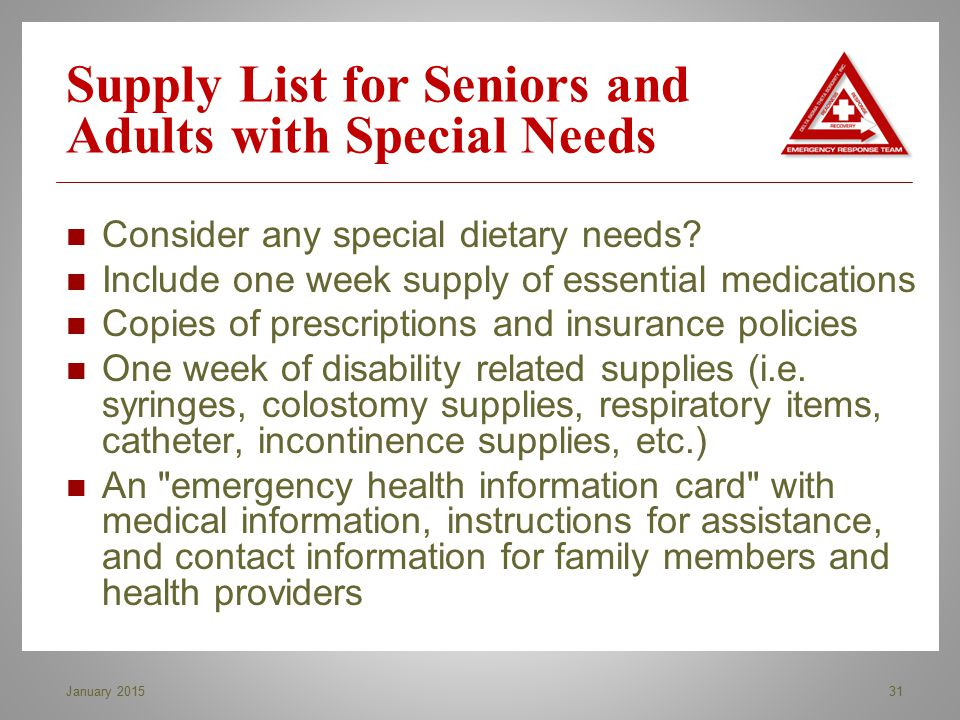 Supply List for Seniors and Adults with Special Needs