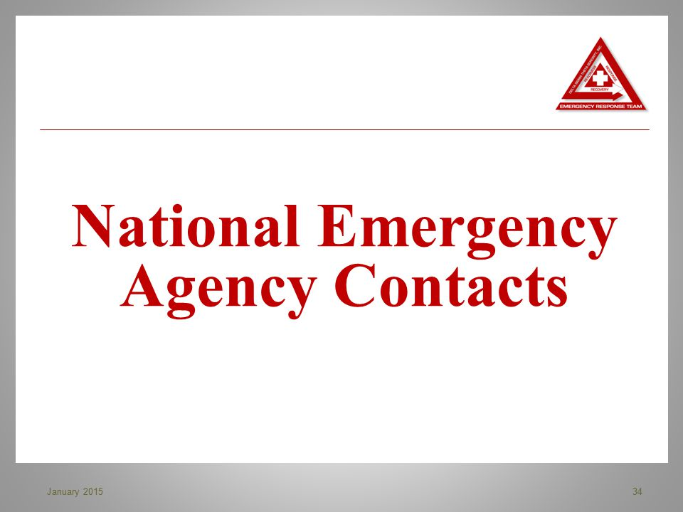 National Emergency Agency Contacts