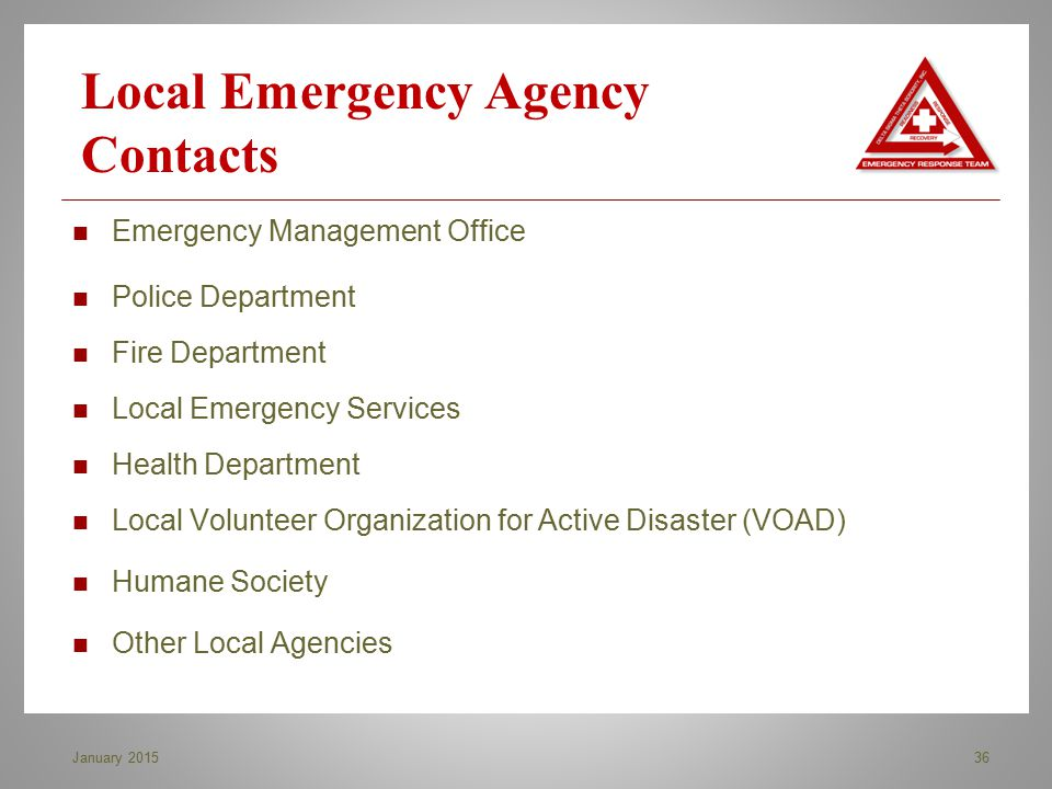 Local Emergency Agency Contacts