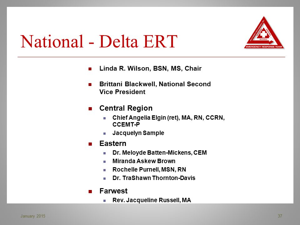 National - Delta ERT Central Region Eastern Farwest