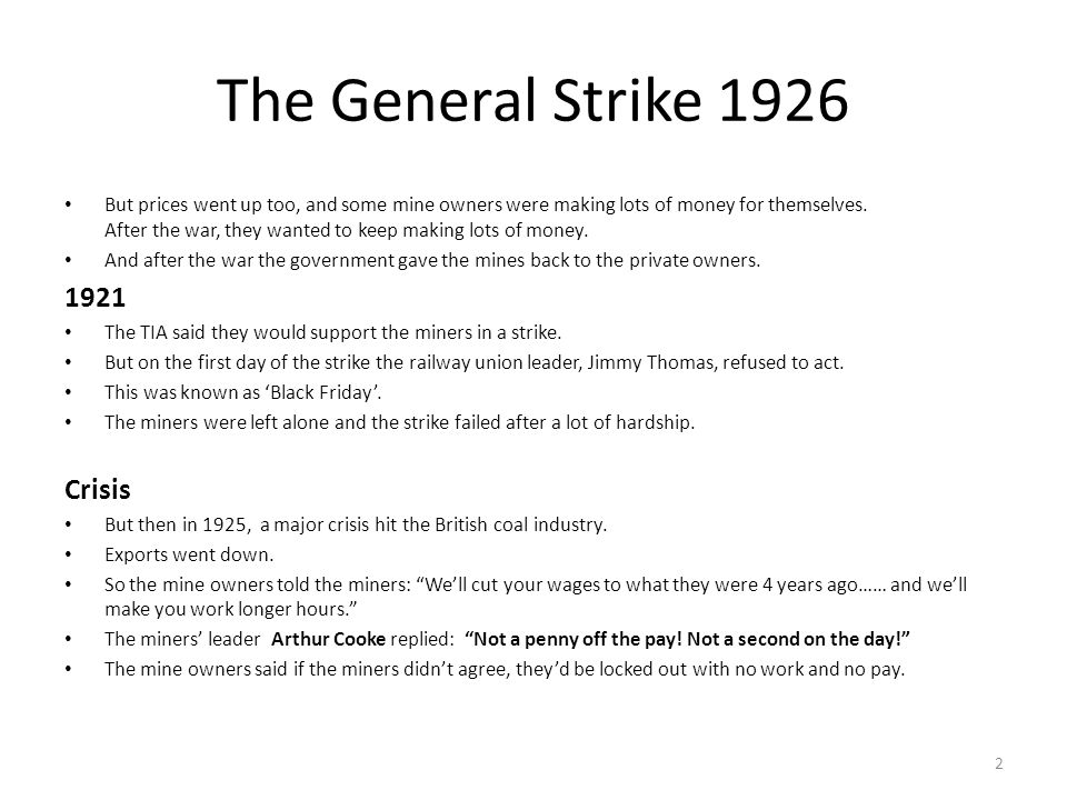 The General Strike 1926 1921 Crisis