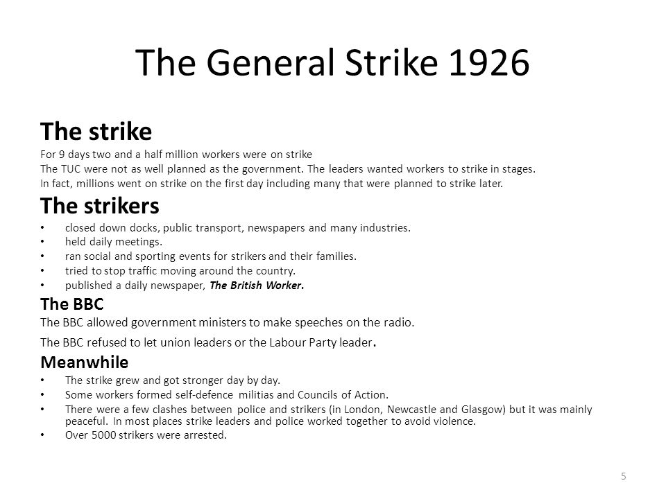 The General Strike 1926 The strike The strikers The BBC Meanwhile