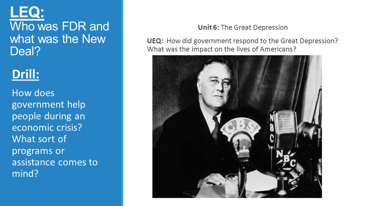 LEQ: Who was FDR and what was the New Deal