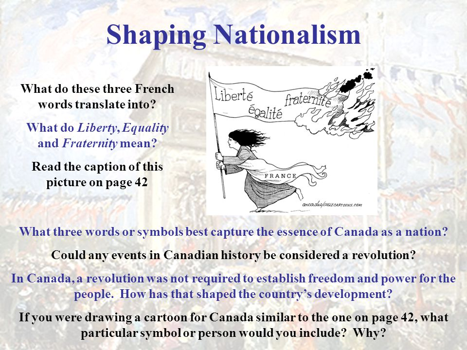 Shaping Nationalism What do these three French words translate into