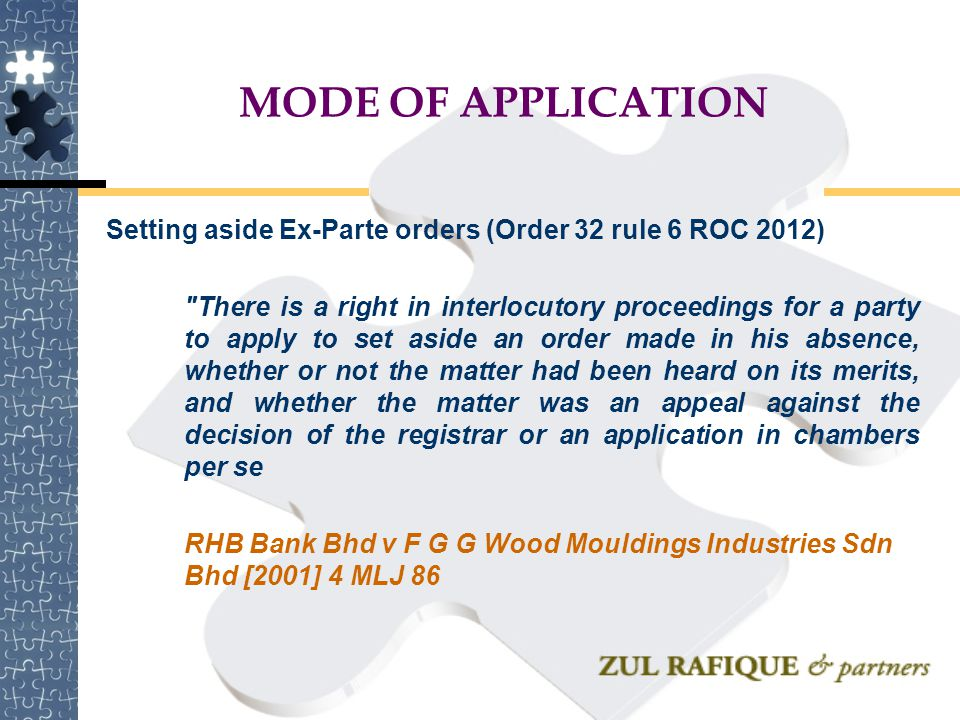 MODE OF APPLICATION