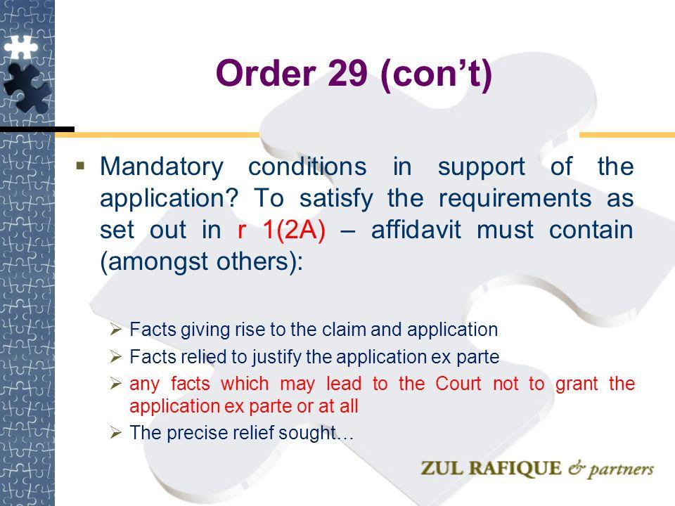 Order 29 (con't)