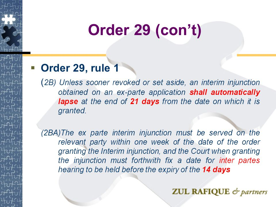 Order 29 (con't) Order 29, rule 1