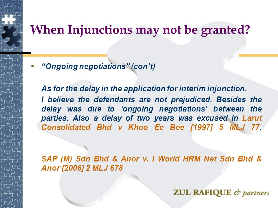 When Injunctions may not be granted