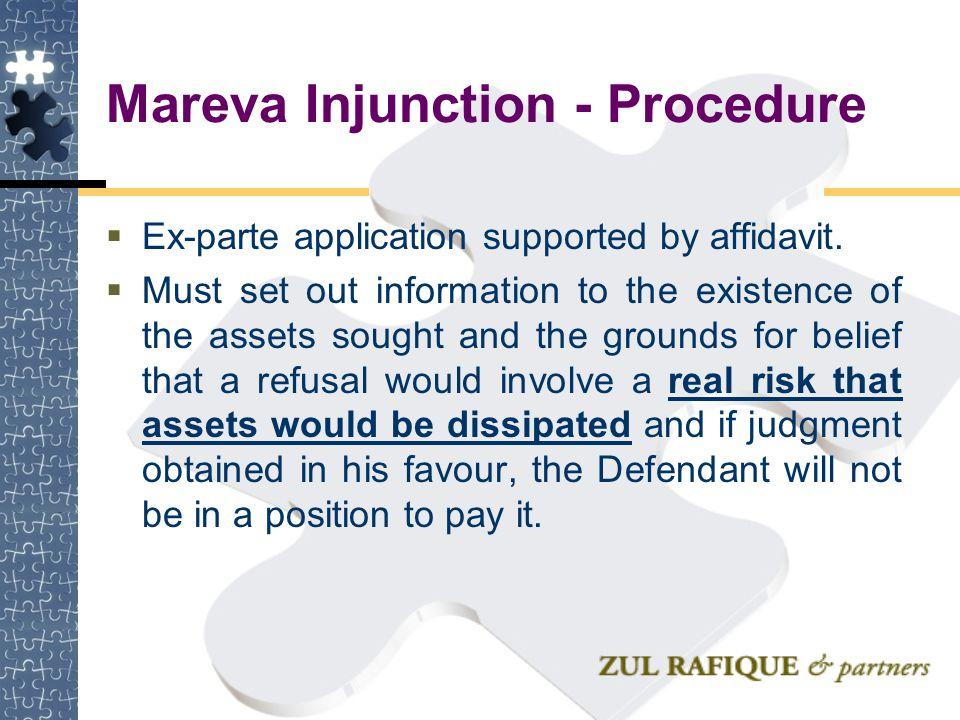 Mareva Injunction - Procedure