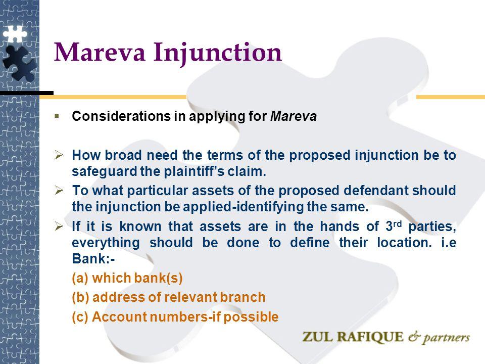 Mareva Injunction Considerations in applying for Mareva