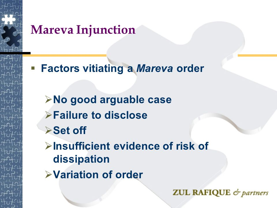 Mareva Injunction Factors vitiating a Mareva order