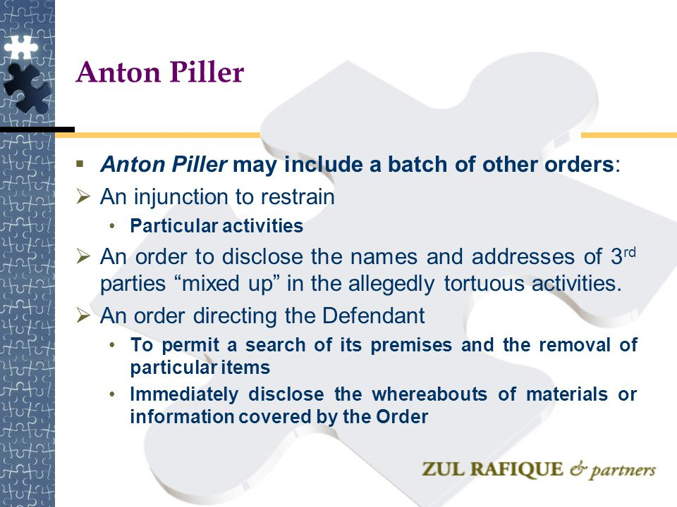Anton Piller Anton Piller may include a batch of other orders: