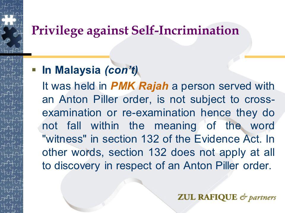 Privilege against Self-Incrimination