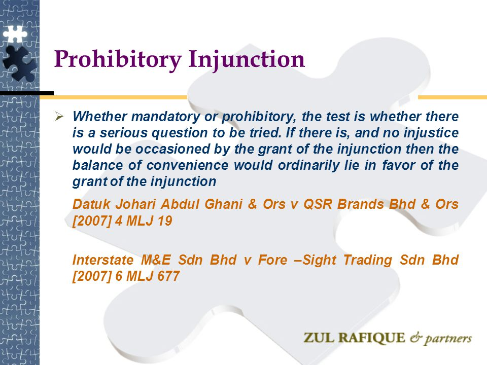 Prohibitory Injunction