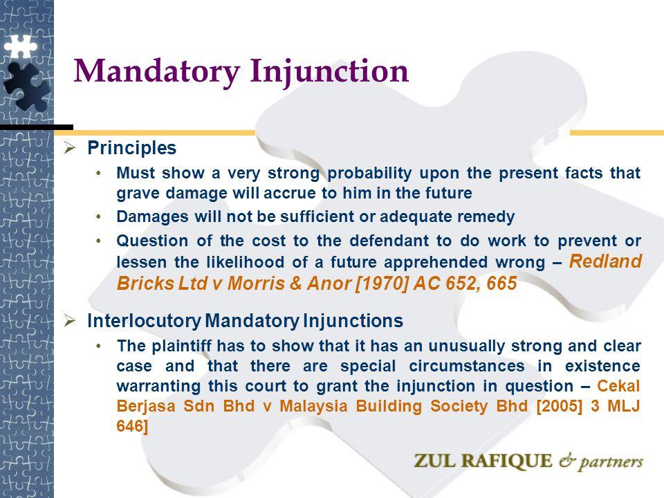 Mandatory Injunction Principles Interlocutory Mandatory Injunctions